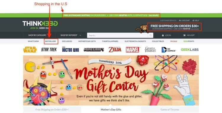 E-commerce personalization Marketing Dynamic Content Example US