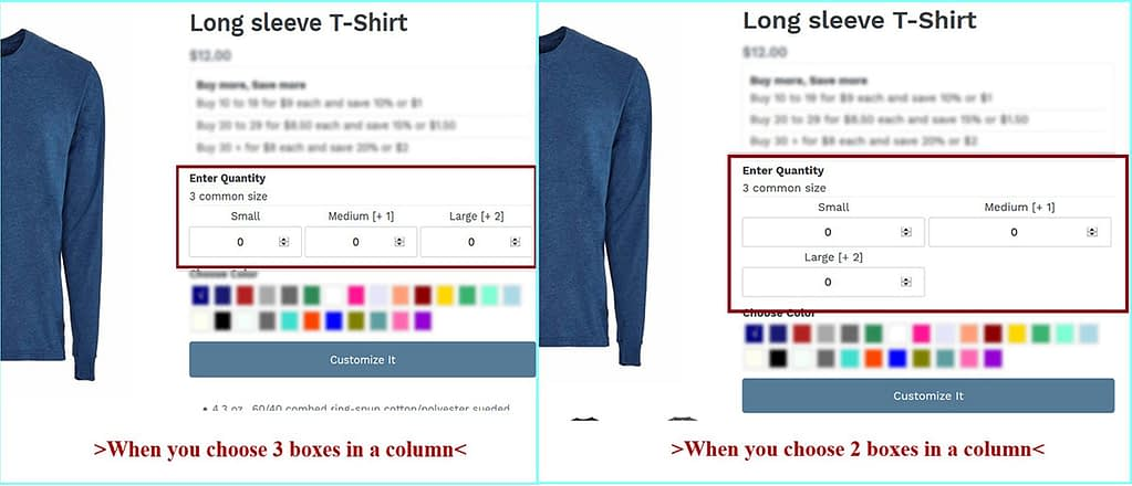 Size preview in product page