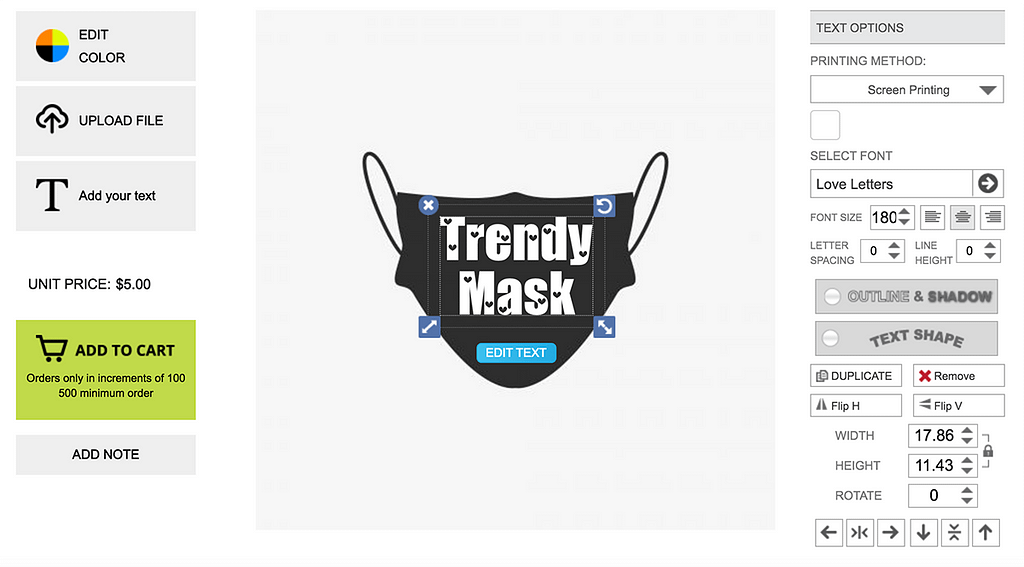 Inkybay Face Mask Customization solution for Shopify