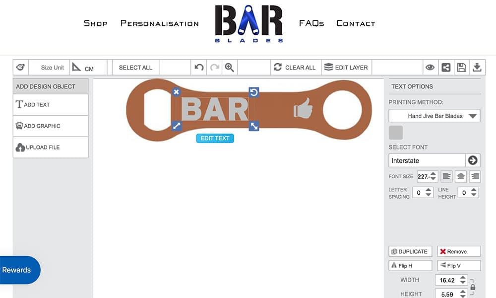 Bar Blade using Inkybay Engraving Personalizer