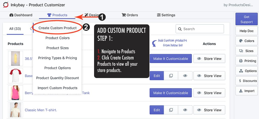 Creating custom products in Inkybay