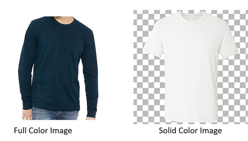 Full color image vs solid color image