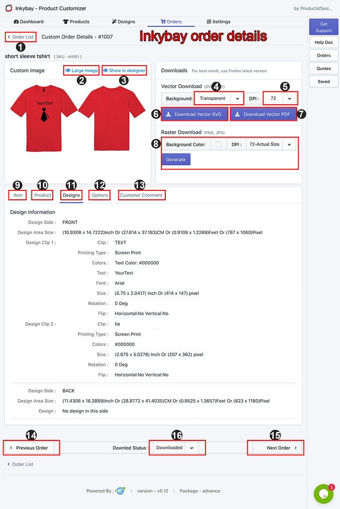 Inkybay download customized orders