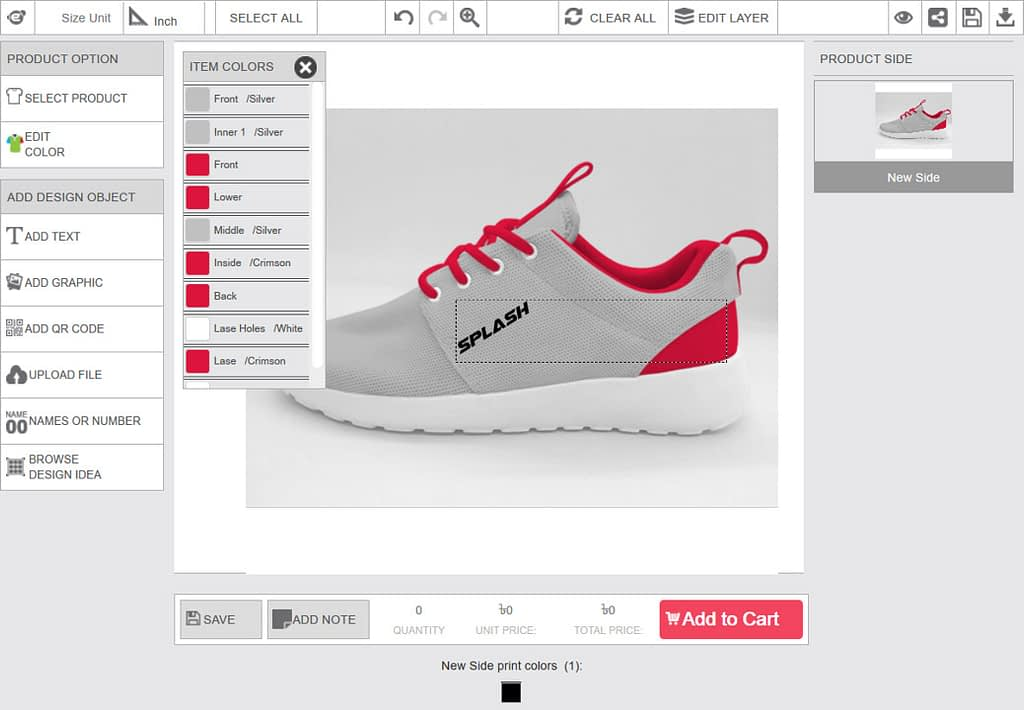 configurable product view in design tool
