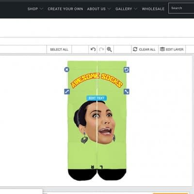 Socks customization software for Shopify
